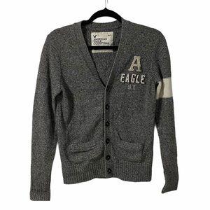 American Eagle Grey & White Knit Cardigan | XSmall